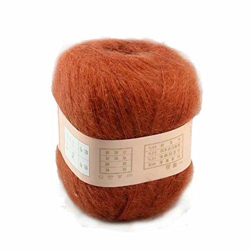 Artilin One Skein Soft&Warm Angola Mohair Cashmere Wool Knitting Yarn 50g,Deep Orange