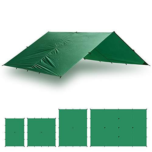 Aqua Quest Guide Bâche XL 6 x 4 m Verte - Abri de Randonnée Ultra-léger et Imperméable en Ripstop Sil Nylon pour Camping Tente - Abri pour Camp de Base Très Grande