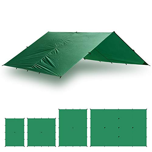 Aqua Quest Guide Sil Tarp Basha - 100% Waterproof & Ultralight RipStop Nylon Material - 3 x 2 m Medium / Small - Compact, Versatile, Durable Backpacking Tarpaulin - Green