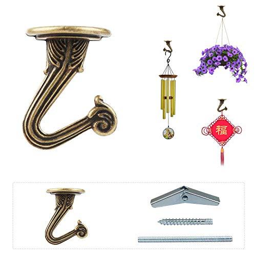 OOTSR 6 Juegos de ganchos de techo para plantas, Ganchos para techo de metal con tornillos/pernos y alas oscilantes para plantas colgantes/candelabros/campanas de viento/adornos (latón)