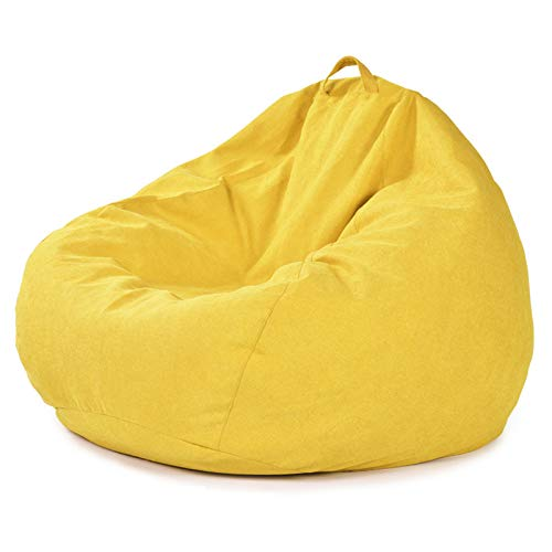 ZH1 Bean Bag Chair for Adults, Bean Bag Chairs for Kids, Giant Bean Bag Chairs for Adults, Memory Foam Bean Bag Chair with Microsuede Cover,Yellow