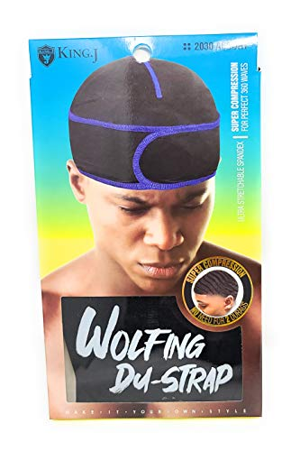 King J Wolfing Du-Strap #2030 No Strings-Snaps Stringless durag compressing cap (Black/Black)