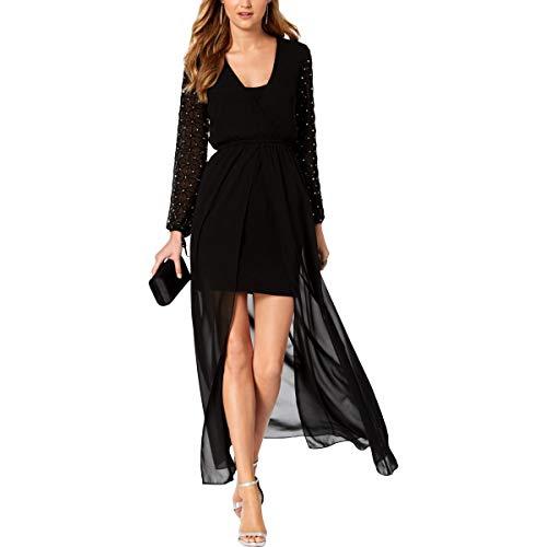 Betsy & Adam Womens Embellished Hi-Low Evening Dress Black 6