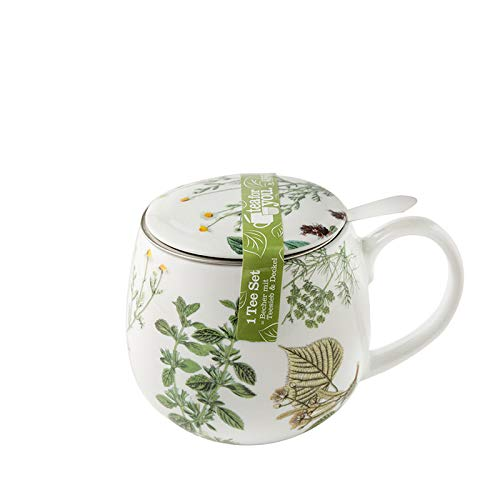 HRDZ Taza de té con separación de Agua y té, Taza de Agua de cerámica Femenina, Taza de té con Flores, Taza de café con Tapa