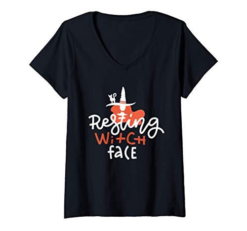 Mujer Cara de Bruja Divertida Descansada disfraz de Halloween de ú Camiseta Cuello V