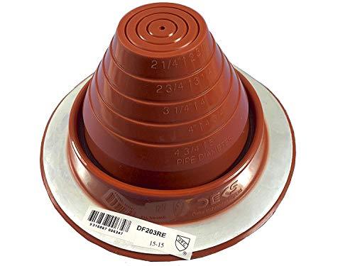 Dektite #3 Red Silicone Metal Roof Pipe Flashing, High Temp, Round Base, Pipe OD 1/4