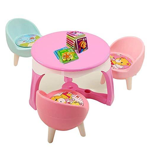 Preisvergleich Produktbild JTKDL Tisch Stuhl Set Tisch Learning Tabelle Kid Picknick-Tisch Nettes Schlafzimmermöbel Boy Möbel Baby Table Set Kid Schreibtischstuhl 1 Tisch mit 3 Kinderstühlen (Color : Pink)