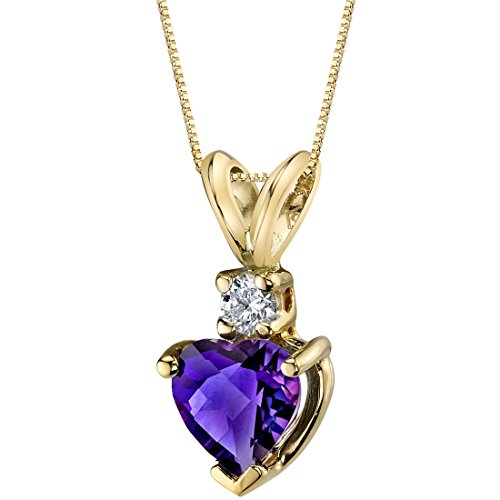 Peora Amethyst with Genuine Diamond Pendant in 14 Karat Yellow Gold, Heart Shape Solitaire, 6mm, 0.75 Carat total