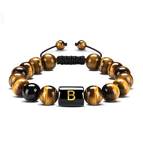 LEEYAN 26 Letra Pulseras con Cuentas Iniciales de Tigre Pulsera de Ojo de Tigre 10mm Natural Negro Black Beads Cuerda Trenzada para Mujeres Hombres Amigo Regalo Joyería
