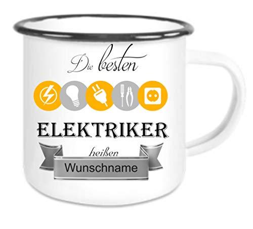 Crealuxe Emailletasse m. Wunschname Die besten Elektriker heißen. Wunschname - Kaffeetasse mit Motiv, Bedruckte Tasse mit Sprüchen oder Bildern