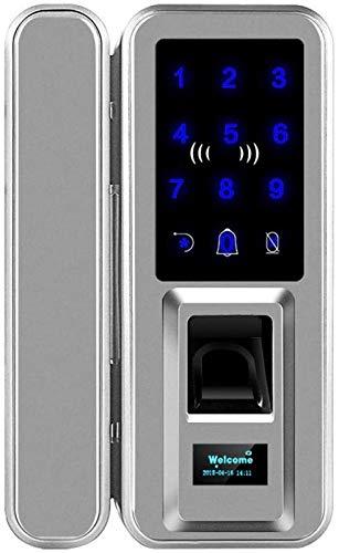 SHKUU Cerradura con contraseña Huellas Dactilares Puerta Cristal Oficina Puerta corredera Cableado Apertura Libre Tarjeta electrónica Doble Acceso Cerradura Puerta Inteligente