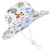 Funnycokid Baby UPF 50 UV-Schutz Sonnenhut Mädchen Jungen Verstellbarer Sommer Fischerhut Giraffe Grafik (0-24 Monate)