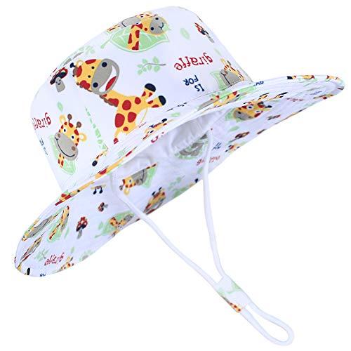 Funnycokid Baby UPF 50 UV-Schutz Sonnenhut Mädchen Jungen Verstellbarer Sommer Fischerhut Giraffe Grafik (3-7 Jahre)