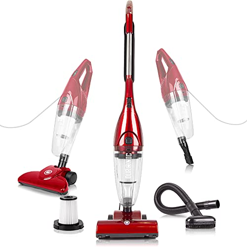 Duronic VC7/RD Upright Stick Vacuum Cleaner Handheld HEPA Filter Bagless Stick Vac with Turbo Brush / Hose / Extra Filter and 2 in 1 Crevice/Brush Tool - Convert from Upright to Hand Held in Seconds!