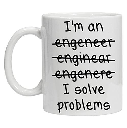 LongBin Ich Bin EIN Ingenieur Ich Löse Probleme Schlechte Rechtschreibung Kaffee Tee 11Oz Becher Awesome Gift-White_11Oz