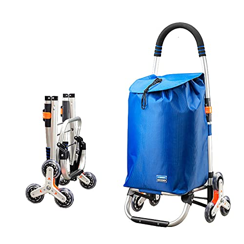 FVIWSJ Carro Compra,Carro Plegable,Carro Compra con 6 Ruedas,Escalada Carro,Bolsa de Rxtraíble Impermeable Carrito para Compra Plegable con Plataforma Ruedas extraíble,Azul,3l