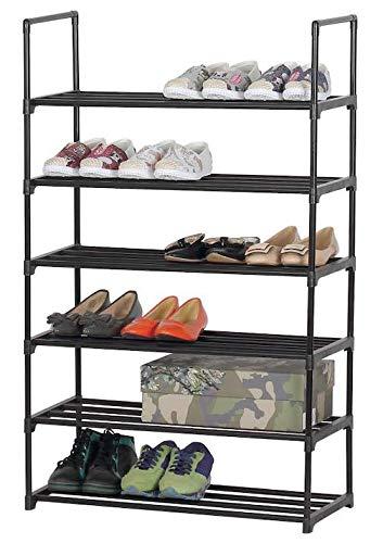 TIENDA EURASIA Zapatero de Metal Acabado Negro Brillo - Capacidad 12-18 Pares de Zapatos - Diseño Sencillo, Compacto y Elegante (6 Pisos - 65,5 X 114 X 29,5 CM)