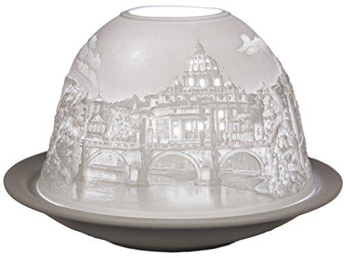 Himmlische Düfte Geschenkartikel GmbH Rom Windlicht, Porzellan, Weiß, 12 x 12 x 8 cm