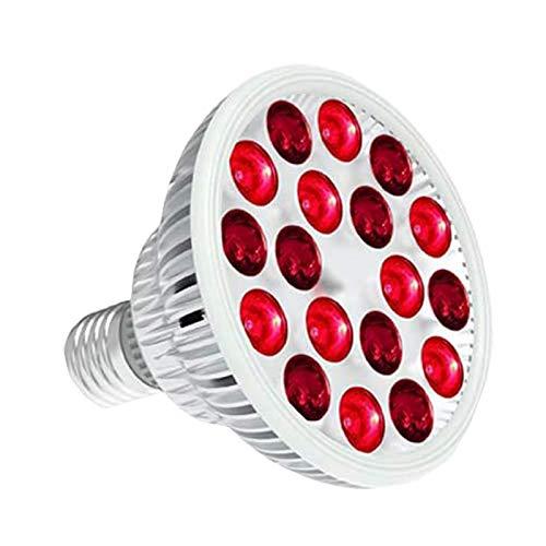 Lámpara De Terapia De Luz Roja, Bombilla Roja Combinada De Infrarrojo Cercano De 660 NM Y 850 NM, Dispositivo De Terapia De Luz Infrarroja De 54 W Y 18 LED para La Piel