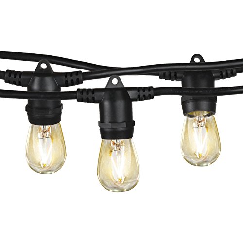Brightech Ambience Pro - Waterproof LED Outdoor String Lights - 2W Vintage Edison Bulbs Create Bistro Ambience in Your Backyard - 48 Ft Commercial Grade Patio Lights