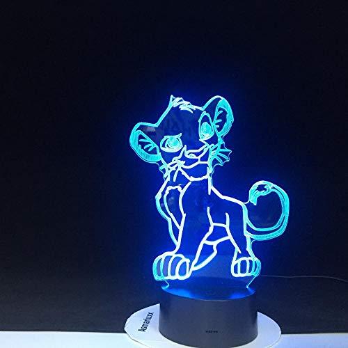 Lampe d'illusion 3D Led veilleuse Cartoon Le Roi Lion Simba Lumière Changement de Couleur Nouveauté Chambre Pour La Maison Cadeau De Noël