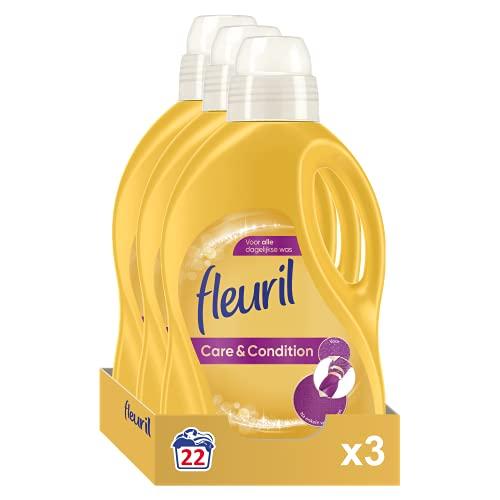 Fleuril Care & Condition, Vloeibaar Wasmiddel, Gekleurde en Bonte Was, 66 (3x22) Wasbeurten