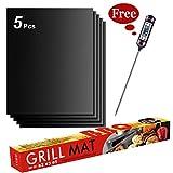 EasyMe BBQ Grillmatte, Antihaft Grillmatten mit BBQ Grillthermometer für Holzkohle, Gas und Elektrogrill - Wiederverwendbare Hochleistungs-Grillmatten - FDA und BPA Zulassung, 40x33 cm