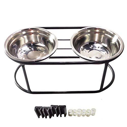 E-harvest Doppelnapfständer mit 2 Edelstahlnäpfen, 3 Größen für alle Hunde und Katzen (S)