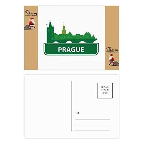 Prag Tschechische Republik Grüne Sehenswürdigkeiten Weihnachtsmann Geschenk-Postkarte Dankeskarte Mailing 20 Stück