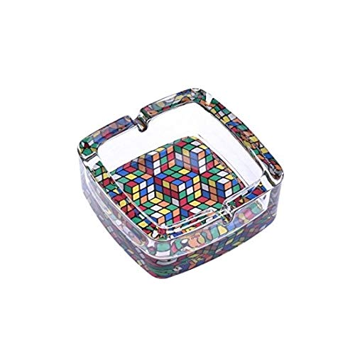 GrecoShop Posacenere/Portacenere in Vetro - MOD. Rubik Two