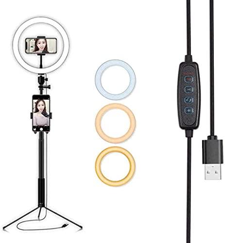 Selfie Ring Light 20cm Dimmable LED Ring Light Light with Stand and Telefono Titolare Fill Light con 3 modalità colore per trucco Fotografia Youtube Vlogging (Aggiornamento)-Nero