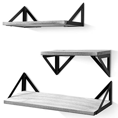 BAYKA Floating Shelves Wall Mounted, Rustic Wood Wall Shelves Set of 3 for Bedroom, Bathroom, Living Room, Kitchen Gray