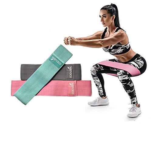 Wenaco Resistance Bands Exercise Bands for Leg & Butt,3 Non-Slip Fabric Exercise Hip Bands,Activate Hips & Glutes, for Stretching,Home Workouts,Yoga,Body Shaping,Weight Loss,Ideal for Men & Women