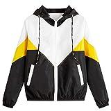 PKTOP - Chaqueta deportiva de manga larga con capucha y cremallera para mujer Amarillo amarillo M