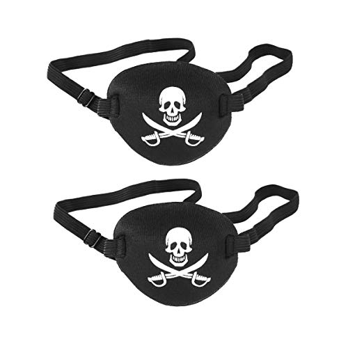 Tvoip 2Pcs Adult and Kids Eye Patch Pirate Skull Style Party Mask For Soft Adjustable Single Eye Cover For Amblyopia Lazy Strabismus Party