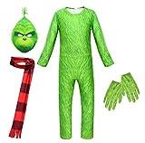 Adulto Cosplay Niños Monstruo Verde Grinch Disfraz Halloween Uniforme Fiesta De Cumpleaños De Halloween,Green-XXL