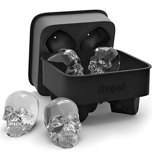 3D Skull Ice Mold Tray, Super Flexible High Grade Silicone Ice Cube Molds for Whiskey, Cocktails, Beverages, Iced Tea & Coffee, Black (Skull - Makes 8) - By Shaped