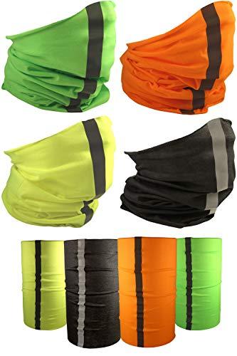 [4 Pack] UV Cooling Reflective Neck Gaiter   UPF 50+ Sun/Wind/Dust Protection   Multipurpose Neck Gaiter for Men and Women   Summer Buff Tube Bandana Gaiter Mask Seamless Face Cover