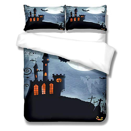 Eainkj Kid Printed Duvet Cover Super King bed 260x220cm Gray ghost festival castle Halloween Children's rooma and bedroom Bedding Boy Girl Soft 3 pcs Duvet Cover Set with Zipper Closure