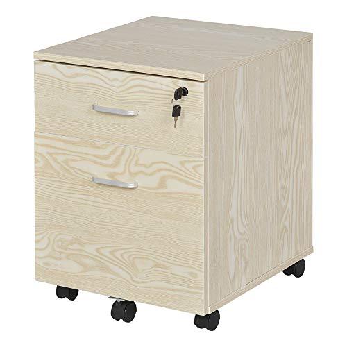 Vinsetto Rollcontainer Aktenschrank Bürocontainer mit 2 Schubladen mobil abschließbar Büroschrank Aufbewahrung Container 5 Universalräder Spanplatte Natur 40 x 44 x 54,6 cm