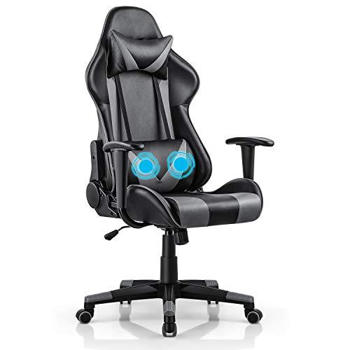 Truker - Sedia da gioco per PC, stile corsa, ergonomica, con riscaldamento, poggiatesta e bracciolo, per casa, ufficio, sedia girevole a dondolo, reclinabile a 180 gradi, colore: Nero Grigio