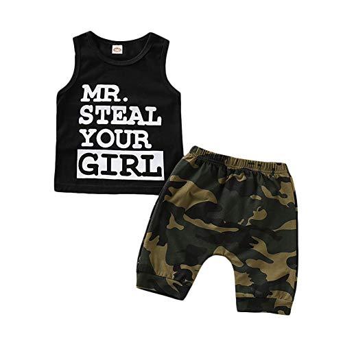 Colete de manga estampada Baby Boy MR.Steal Your Girl + conjunto de roupa de camuflagem