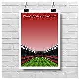 Home.Ground. Impressions murales Design graphique Stade de rugby des six nations Collection cadeau – Pays de Galles « Principality Stadium »