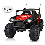 BABLE 2 Seater Kids Ride On Car 12V Electric Car Truck with Remote Control, Packed 2 Powered Batteries Kids Car Ride On Toy Motorized SUV with Spring Suspension Music Radio Lights - Red & Black