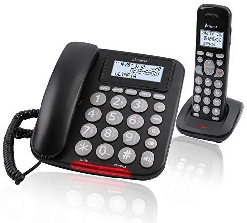 Olympia Senioren Großtasten Festnetztelefon mit DECT Mobilteil Hörgerätekompatibel Extragroße Wahltasten