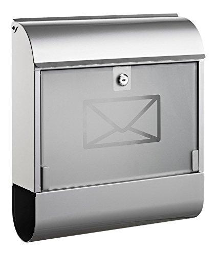Alco 8608 brievenbus met krantenbox, ca. 36 x 40 x 11 cm, zilver