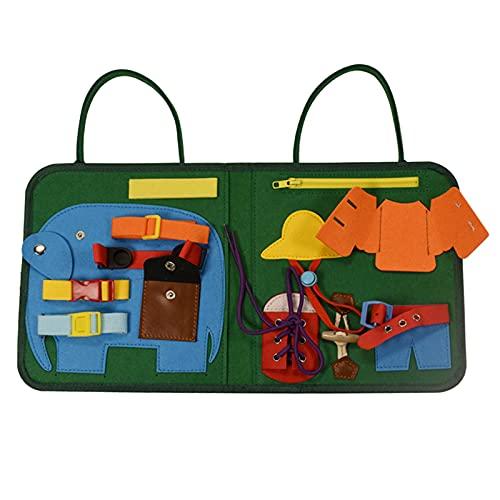 Amagogo Tocador para niños pequeños, Tablero Ocupado, Juguetes Montessori para Aprender a Vestir, Plegable con asa, Juguetes educativos, diseño de Bolsa,
