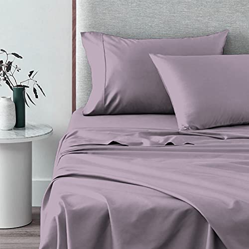 400 Thread Count Cotton Full Sheets Set Lavender Frost, 100% Long Staple Cotton Smooth Satin Bed Sheets with Stylish 4 inch Hem, fit Upto 15 inch Deep Pocket (100% Cotton Frost Full Sheet Set)