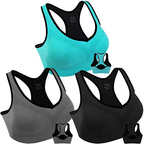 3 Pack Women Racerback Sports Bras High Impact Workout Yoga Gym Fitness Bra (Black+Grey+Blue, Medium)