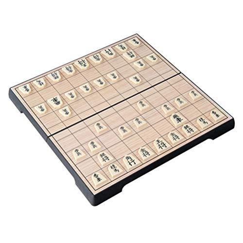 STOBOK Shogi Spiel Japanisches Schach Holz Magnetischem Spielbrett Tragbar 25x25cm Zusammenklappbar Tabletop Brettspiel Reise Familien Kinder Erwachsene Brettspiele Strategiespiel